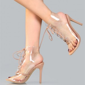 Blush PVC Lace up Boots Peep Toe Stiletto Heels Clear Summer Boots
