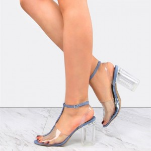 Women's Blue Transparent T-strap Peep Toe Chunky Heels Sandals