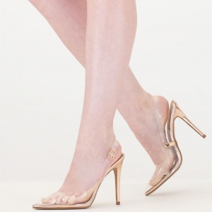 Pointy Toe Clear Heels Slingback Stiletto Heels Pumps For Women