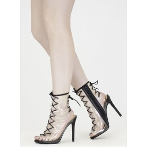 Clear Heels Lace-up Slingback Transparent Stiletto Heel Ankle Booties