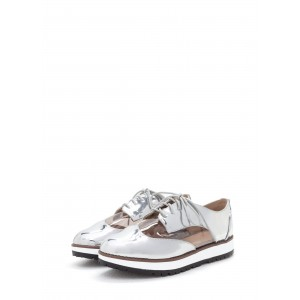 Women's Silver Transparent Strappy Vintage Oxfords Shoes