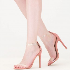 Women's Pink Open Toe Stiletto Heel Transparent Ankle Strap Sandals