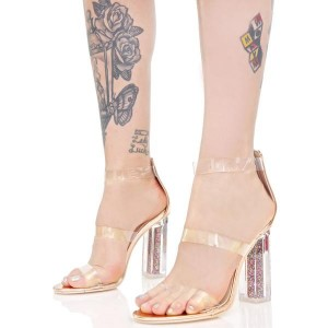 Women's Luxury Golden Chunky Heel Ankle Strap Open Toe Transparent Sandal