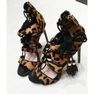 Leopard Print Heels Tassels Lace up Strappy Sandals with Platform