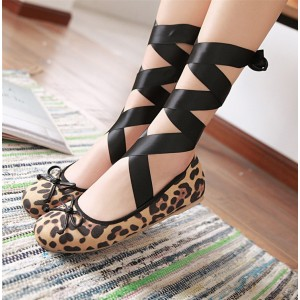 Women's Brown Leopard Print Flats Round Toe Strappy shoes
