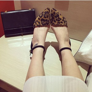 Leopard Print Shoes Ankle Strap Chunky Heels Closed Toe Sandals