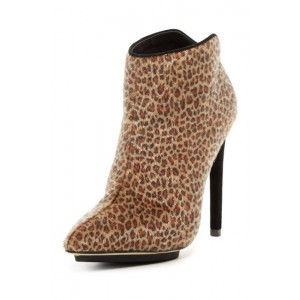 Leopard Print Stiletto Boots Horsehair Pointy Toe Ankle Booties with Platform