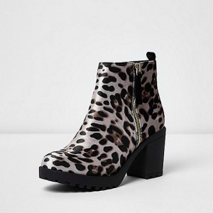 Leopard Print Boots Chunky Heels Round Toe Ankle Boots US Size 3-15