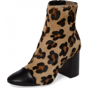 Horsehair Leopard Print Boots Animal Chunky Heels Ankle Booties