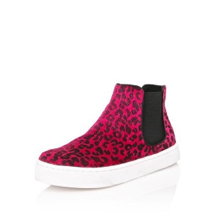 Women's Red Round Toe Slip On Leopard Print Flats Sneakers