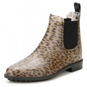 Women's Brown Almond Toe Vintage Heel Leopard Print Booties