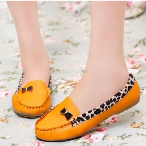 Women's Orange Almond Toe Bowknot Leopard Print Flats