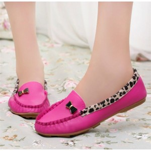 Fuchsia Round Toe Leopard Flats Comfortable Loafers for Women