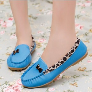 Women's Bright Blue Almond Toe Bowknot Cheetah Flats