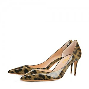 Women's Patent  Brown Stiletto Heel DorsayLeopard Pumps