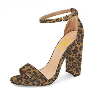 Leopard Print Heels Ankle Strap Chunky Heel Sandals US Size 3-15