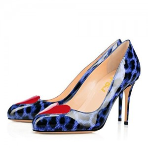 Women's Blue Patent Leather Heart Decorationed Stiletto Heel Leopard Heels Pumps
