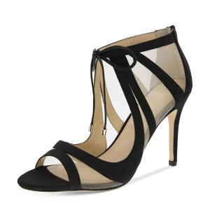 Leila Black Mesh Lace-up Peep Toe Stiletto Heel Sandals