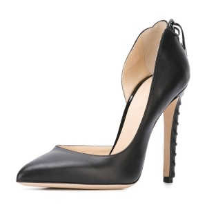 Black Dress Shoes Pointy Toe Formal Office Heels for Ladies