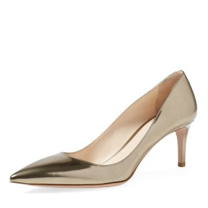 Champagne Kitten Heels Pointy Toe Metallic Heels Pumps for Office Lady