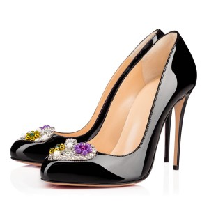 Black Rhinestone Heels Patent Leather Pumps for Office Lady