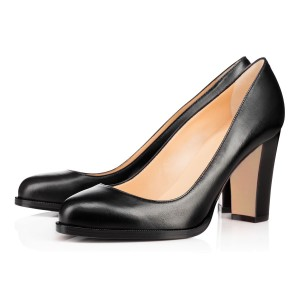 Black Basic Pumps Office Shoes Round Toe Chunky Heels by FSJ