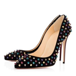 Leila Black Colorful Rivets Stiletto Heel Pumps