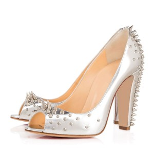 Women's Silver Rivets Upper Peep Toe Heels Comfortable Shoes