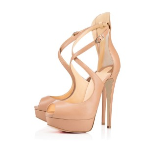 Women's Nude Cross-Over Straps Peep Toe Stiletto Heel Sandals Platform Heels