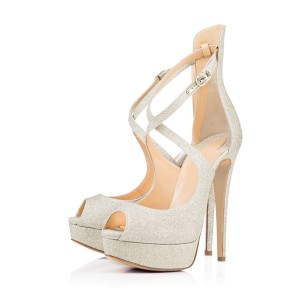 Silver Sparkly Heels Peep Toe Cross-over Strap Sandals