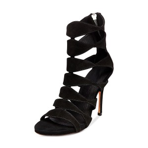 Leila Black Suede Open Toe  Hollow-out Stiletto Heel  Sandals