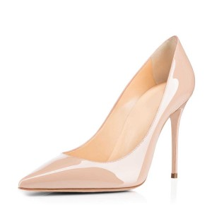 Women's Nude Heels Dress Shoes Pointy Toe Commuting Stilettos Pumps
