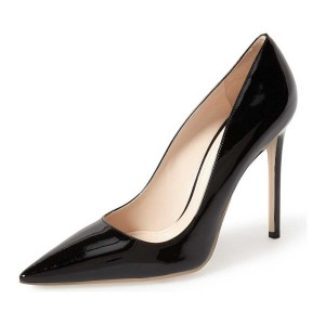 Black Office Heels Patent Leather Stiletto Heel Pointy Toe Dress Pumps