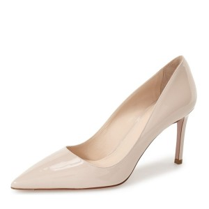 White Stiletto Heels Pointy Toe Pumps Patent Leather Office Heels