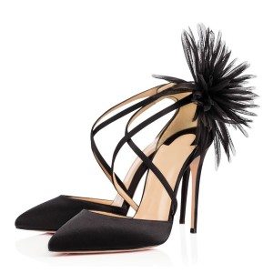 Black Evening Shoes Cross-over Strap Stiletto Heel Closed Toe Sandals