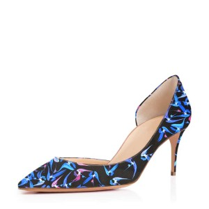 Women's Blue Dress Shoes Floral-Print Kitten Heels Pumps Shoes