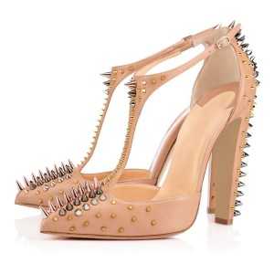 Apricot Rivets Upper T-Strap Pumps Pointy Toe Chunky Heels Sandals