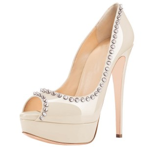 Nude Peep Toe Heels Platform Pumps with Rivets