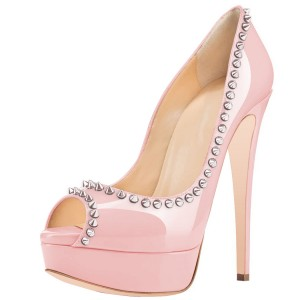 Pink Pumps With Rivets