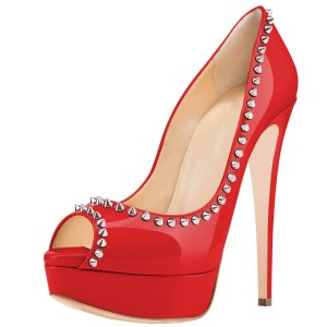 Red Peep Toe Heels Platform Chunky Heel Pumps with Rivets