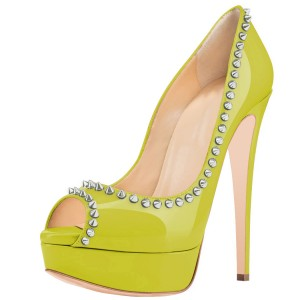Lime Green Peep Toe Heels Studded Platform Pumps