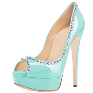 Cyan Pumps With Rivets