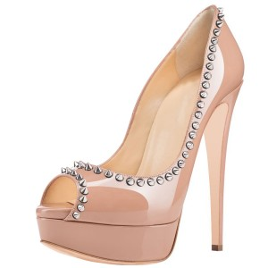Women's Bare Stiletto Heel Pumps With RIvets Peep Toe Heels