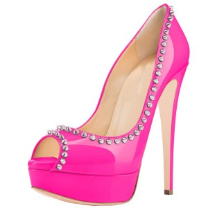 Hot Pink Platform Heels Peep Toe Pumps with Rivets