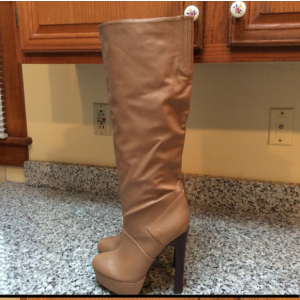 Custom Made Tan Platform Chunky Heel Boots