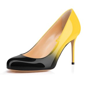 Yellow and Black Gradient Stiletto Heels Round Toe Pumps