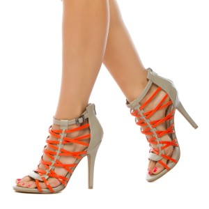 Yellow And Grey Buckle Stiletto Heel Strappy Sandals