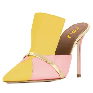 Yellow and Pink Mule Heels
