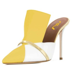 Yellow and White Mule Heels