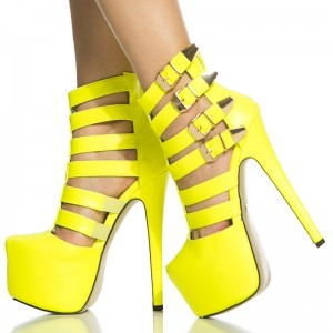 Yellow Sexy Shoes Platform Stiletto Heel Summer Boots with Buckles